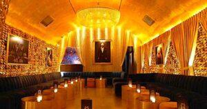 The gold skull encrusted walls of New York City's famed, GoldBar in Nolita.
