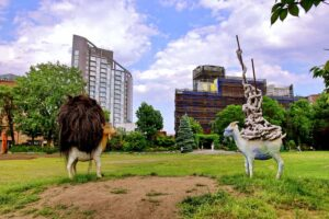 Some of the incredibly quirky art installations you'll find at Socrates Sculpture Park.