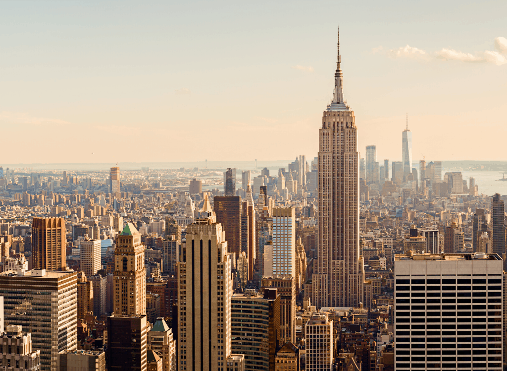 An exquisite view of the Empire State Building from the Top of the Rock in NYC.