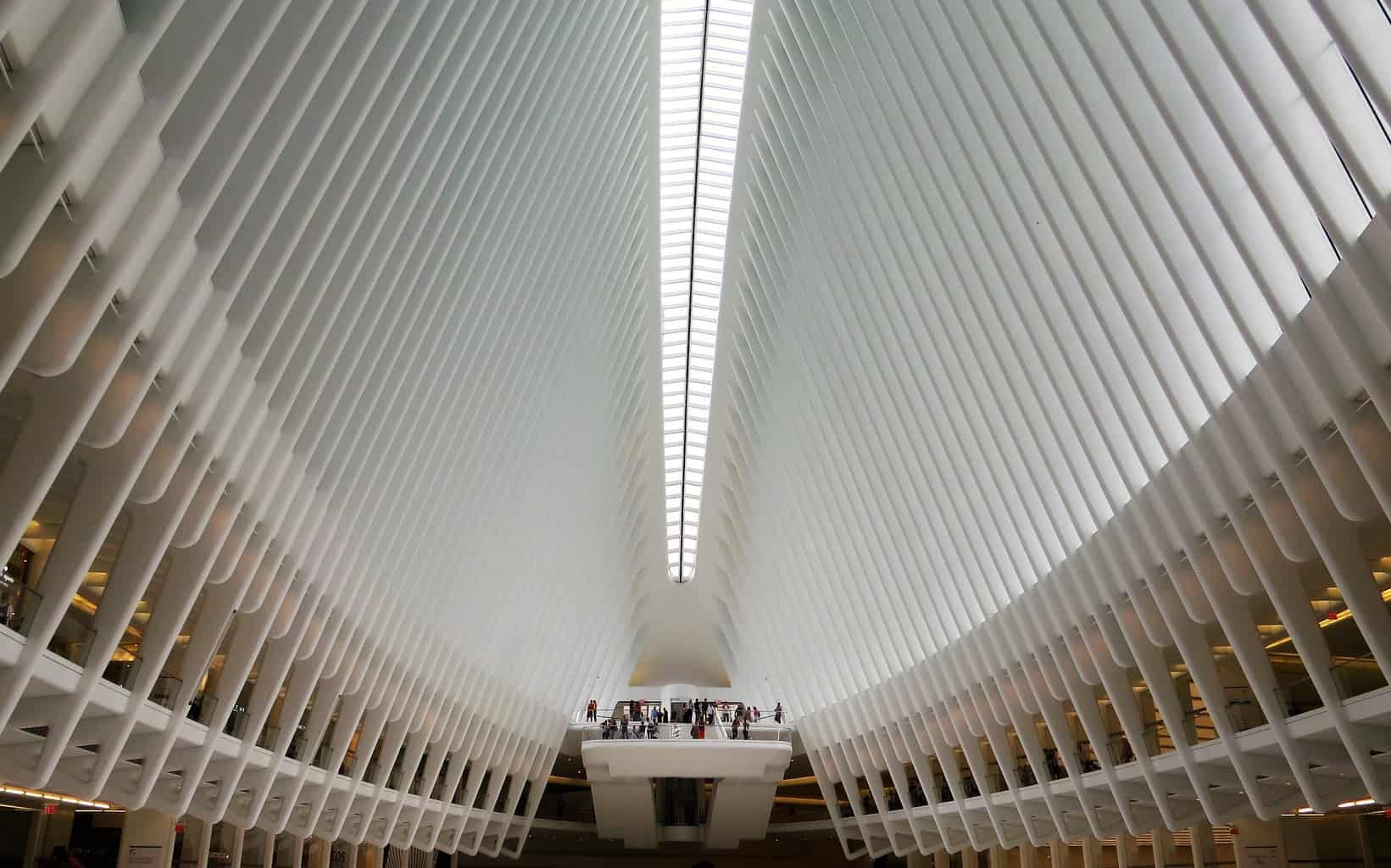 The beautiful modern architecture of the Oculus.