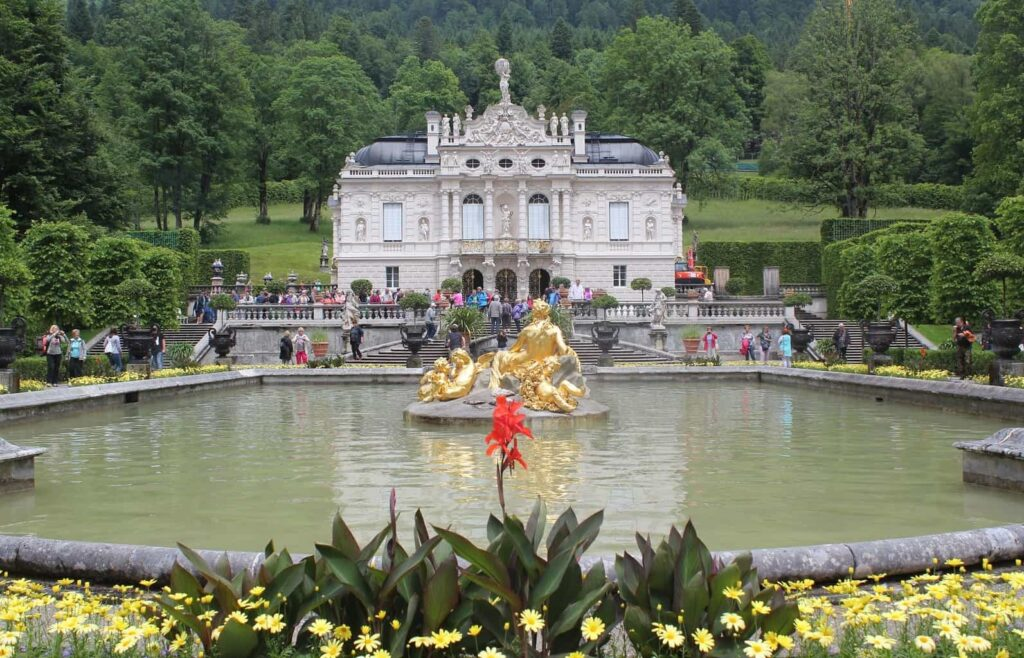 The beautiful Linderhof Palace which was built by Ludwig II of Germany.