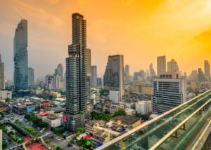 A beautiful, panoramic view of Bangkok at sunset, from SkyBar.