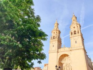 The historic cathedral that you'll find at the center of Logrono, Spain.