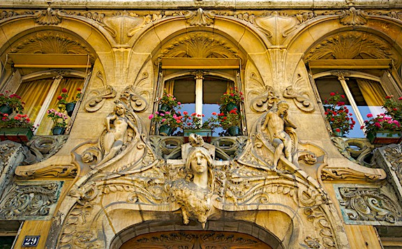 The ornate, wonderfully whimsical, art nouveau style exterior of 29 Avenue Rapp in Paris.