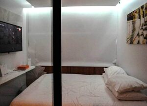 The cozy, but comfy, rooms at S-Box Hotel in Bangkok.
