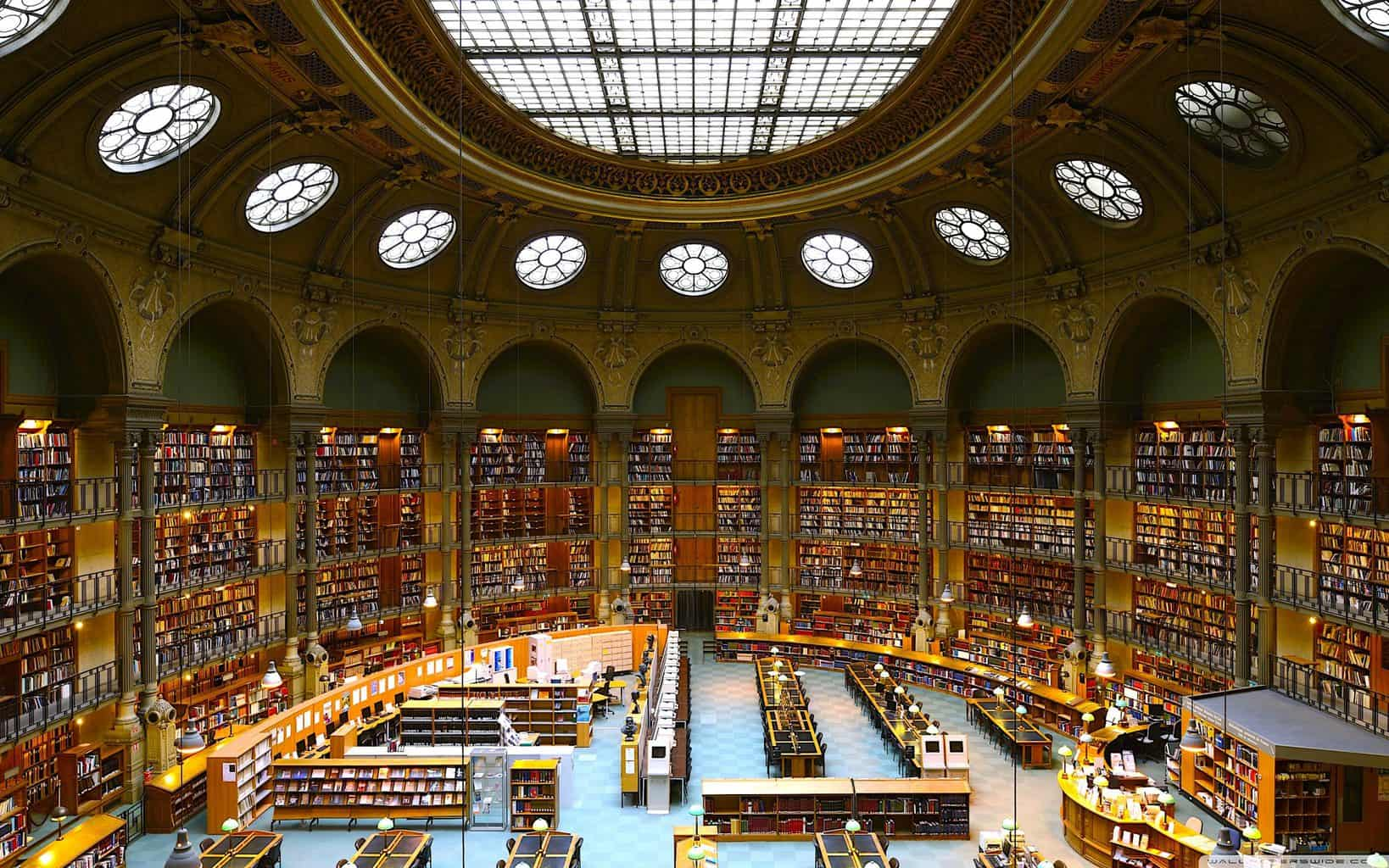 The expansive interior of the Bibliothèque Nationale de France or the National Library of France (image sourced from Flickr.com).