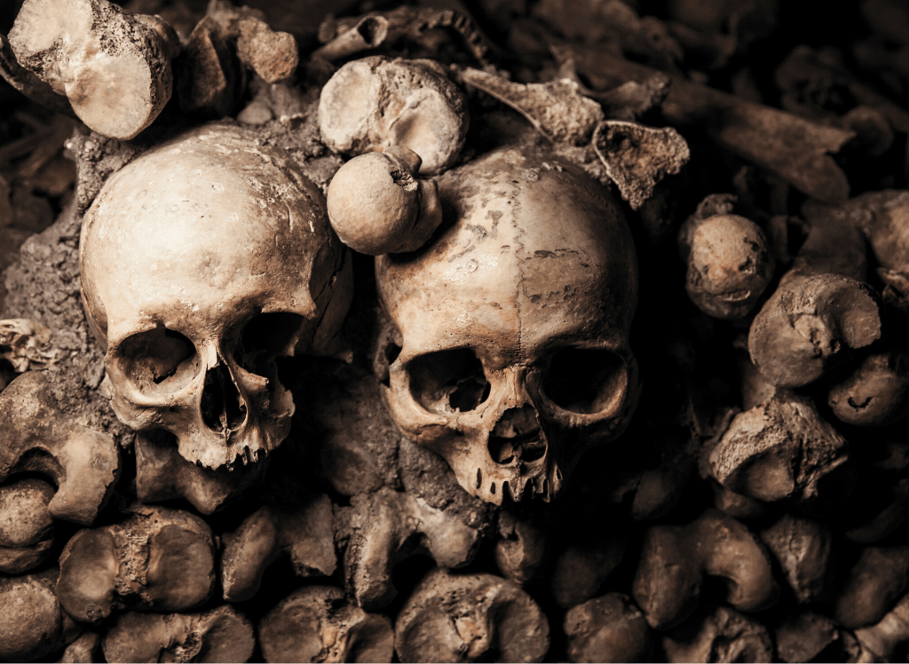 The skull lined walls of the underground catacombs in Paris.
