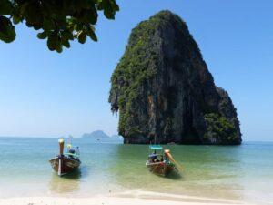 The natural beauty of Rai Beach in Krabi, Thailand