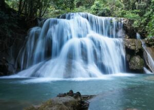 The enchanting, Huay Mae Khamin Waterfall near Kanchanaburi, Thailand.