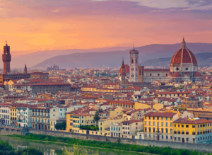 The iconic Florence skyline, with a view of the famous, Santa Maria del Fiore Cathedral.