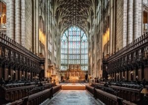 The medieval beauty of Gloucester Cathedral in Gloucestershire, England. A place where various interior shots of Hogwarts were filmed.