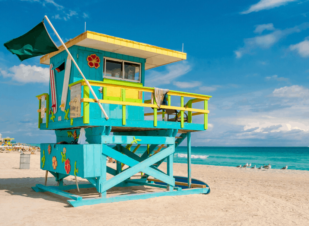 Multi-colored lifeguard tower in Miami in best warm winter vacations USA.