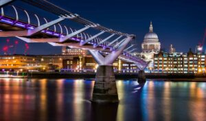 Millennium Bridge in London, which was unceremoniously destroyed by Deatheaters in Harry Potter and the Half-Blood Prince.