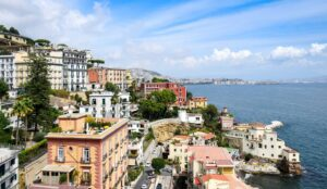 The beautiful waterfront of Naples, Italy.