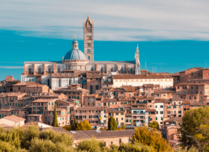 Siena, a charming town located in the center of Tuscany.