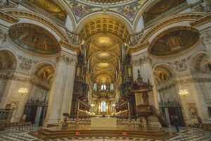 The exquisite interior of St. Paul's Cathedral in London.
