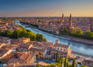 A panoramic view of Verona, one of the most beautifully romantic cities in Italy.