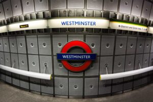 The Westminster Tube Station in London.
