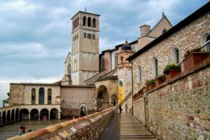 The historic, Basilica of San Francesco d'Assisi in Perugia, Italy.