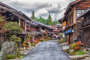 Some of the historic, Edo period houses that line the Nakasendo trail between Magome and Tsumago in Japan.
