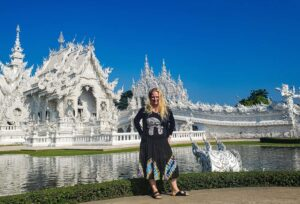 Enjoying the incredible beauty of the White Tample, Wat Rong Khun, In Chiang Rai, Thailand.