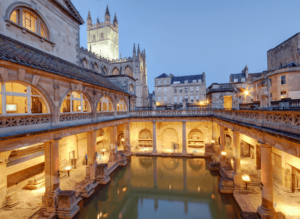 Some of the Roman-style baths that you'll find in Bath, England, one of the best day trips from London by train.
