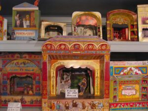 Some of the vintage Shadow Boxes that you'll find at Benjamin Pollock's Toy Shop.