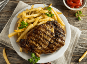 Entrecot, the Galician steak and fries that you'll find at Escairon in Barcelona.