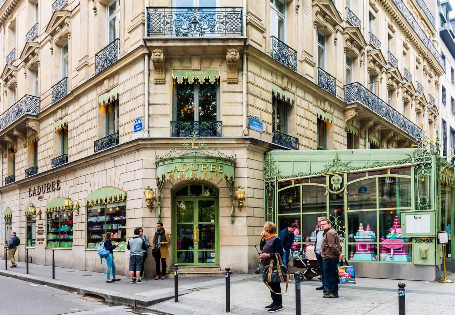 The one and only Ladurée Cafe, which sits along Paris' immortal, Champs Elysées