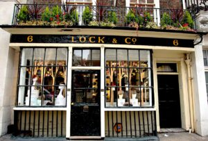The beautiful, Victorian-style exterior of Lock & Co. hat company in London, England.