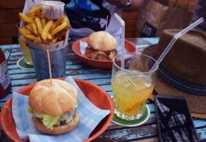 Some of the amazing burgers you'll find at Makamaka Beach Burger Cafe, along Barceloneta Beach in Barcelona, Spain.
