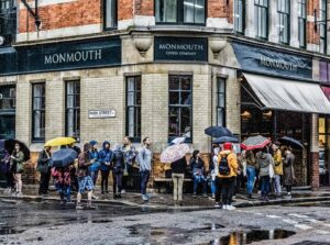 The people of London love Monmouth Coffee so much that they'll regularly stand outside, in the rain, just to get some.