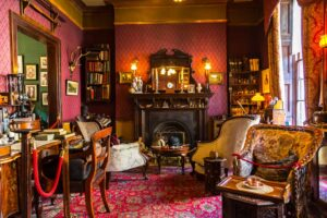 The interior of Sherlock Holmes' study at 221b Baker Street in London.