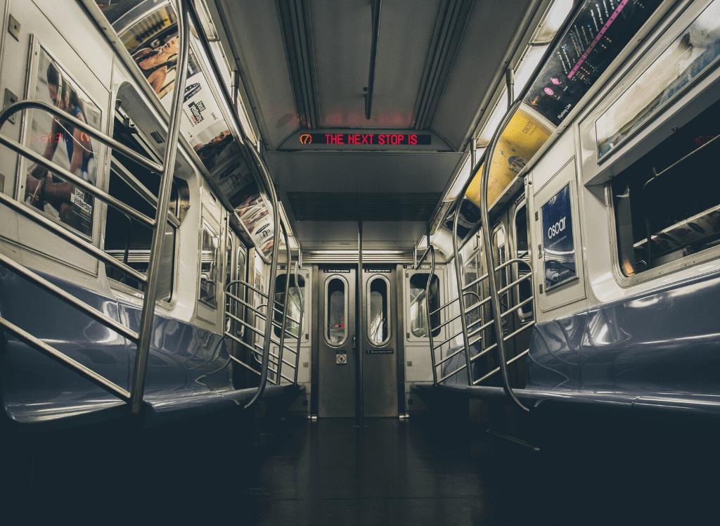 Interior of a subway car.