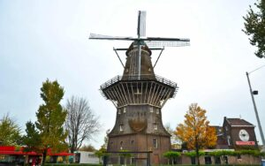 The iconic Dutch windmill that you'll find at Brouwerij 't IJ Brewery in Amsterdam.