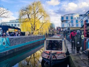 Beautiful Camden Market sits nestled along Regent's Canal. It's also one of the best cheap shopping spots in London.