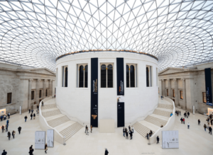 One of the most famous London landmarks is the British Museum's exquisite, glass and steel roofed Great Court, with the historic Reading Room in the center.