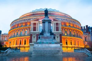 The enchanting beauty of the Royal Albert Hall in the early evening.