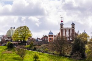 The Royal Observatory Greenwich, a famous London landmark that sits hough above Greenwich Park.