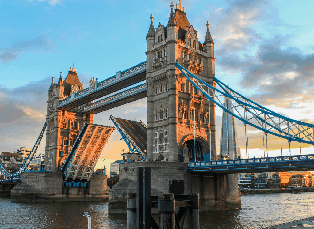 A view of Tower Bridge with the Shard in the background.