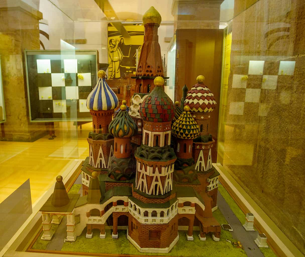 A chocolate sculpture of Moscow's famous, St. Basil's Cathedral is proudly displayed inside of Barcelona's chocolate museum.