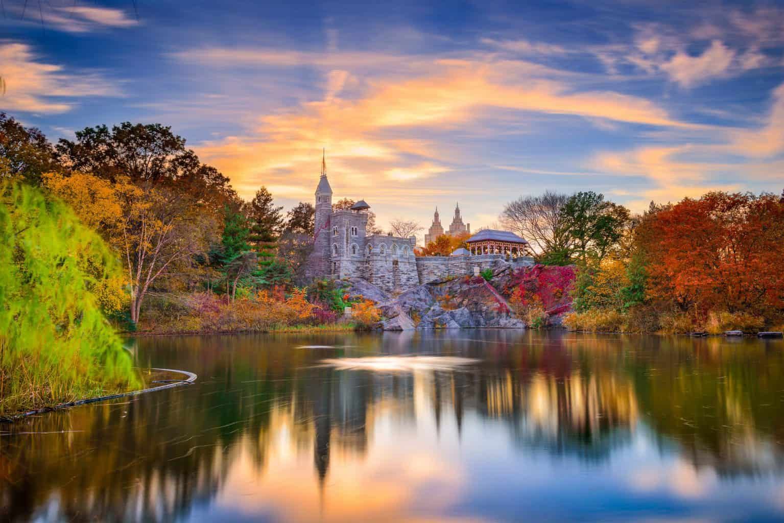 A stunning view of Belvedere Castle in Central Park.