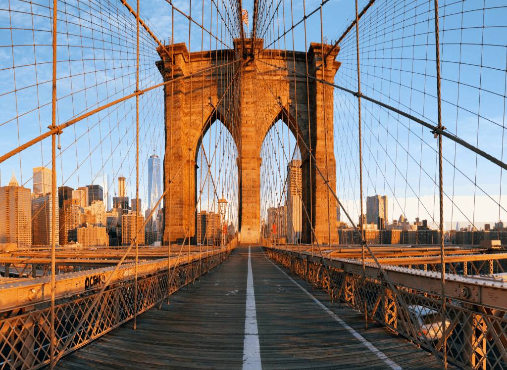 Some of the stunning views you'll be able to enjoy from the pedestrian walkway on the Brooklyn Bridge.