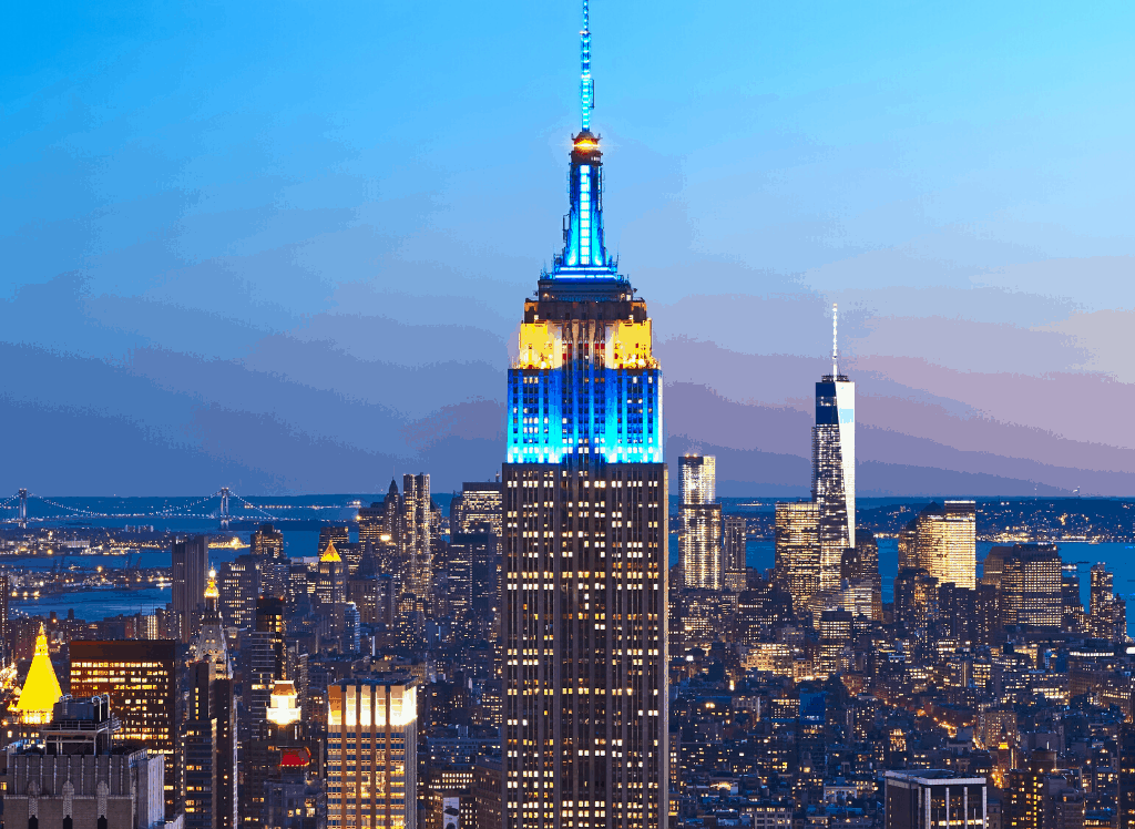 The Empire State Building, one of the most famous buildings in all of New York City.