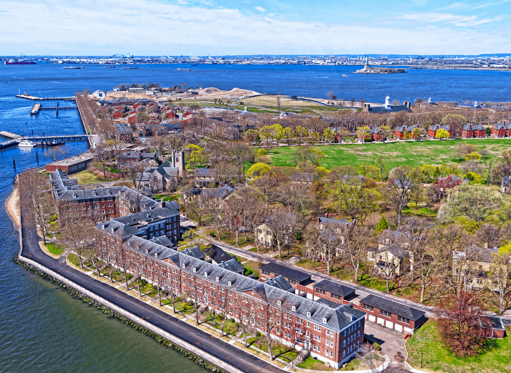 An aerial view of Governors island