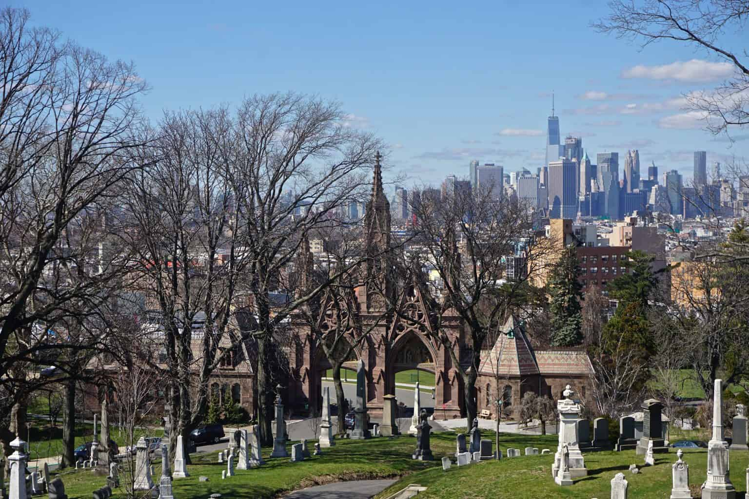 A stunning view of Manhattan from Green-wood Cemetery in Brooklyn.