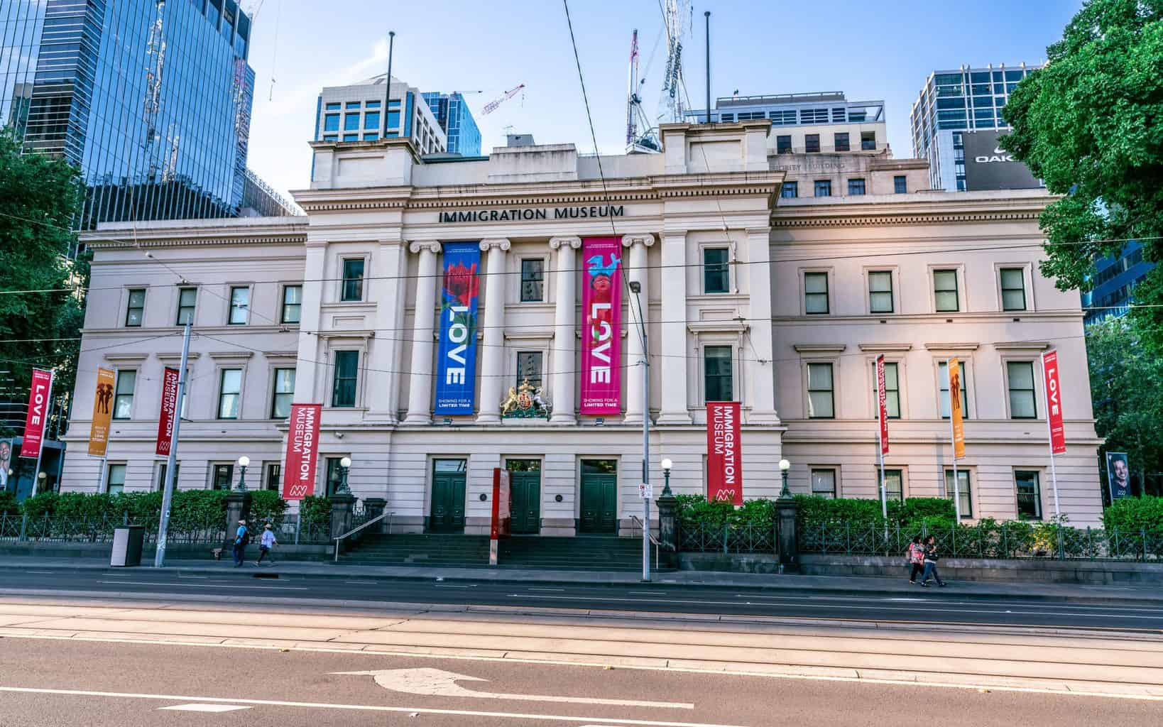 A view of the exterior of the Immigration museum in the old customs house building in Melbourne, Victoria Australia.