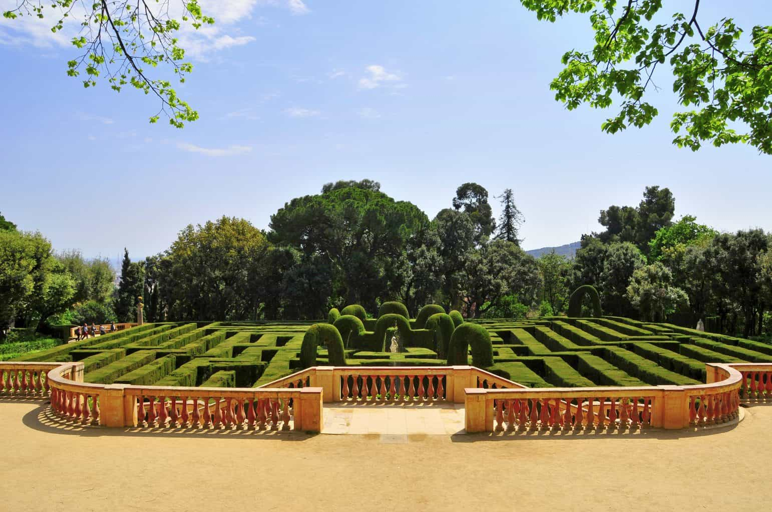 The elaborate hedge maze that can be found at the center of the oldest park in Barcelona, Labyrinth Park of Horta (AKA Parc del Laberint d'Horta).