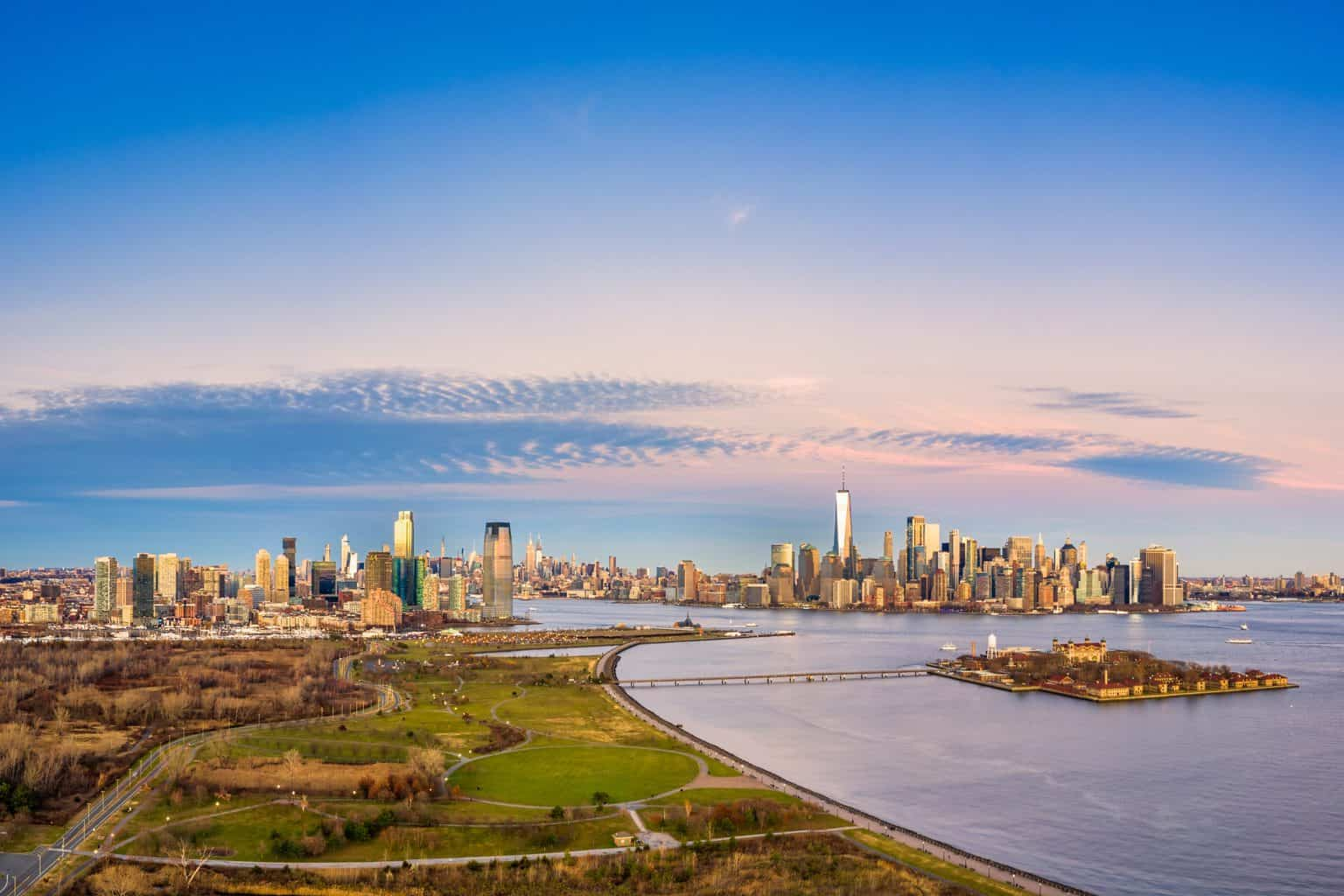 An aerial view of Liberty State Park near Jersey City, New Jersey.
