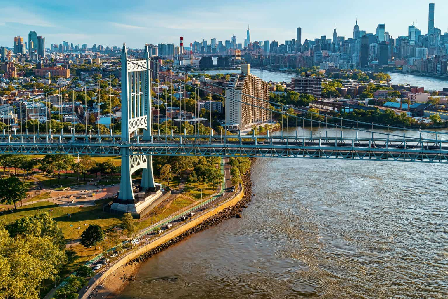An aerial view of Randall's Island and the Triboro Bridge.